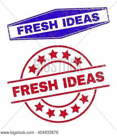 Fresh Ideas Badges. Red Round And Blue Flatten Hexagon Fresh Ideas Watermarks. Flat Vector Grunge Wa