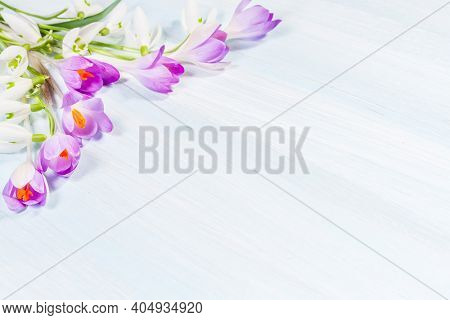 Bouquet of spring snowdrops and crocuses on the table