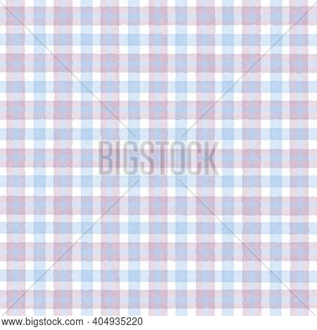 Light Blue White Pink Vintage Checkered Background With Blur, Gradient And Grunge Texture. Classic C
