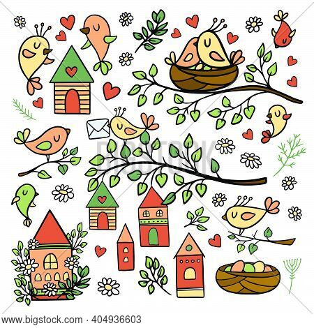 Spring Mood Of Birds Making Nests Blooming Nature Merry Houses Flowers And Blossom Plants And Branch