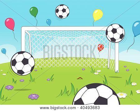 Cartoon goalposts with balloons and soccer balls
