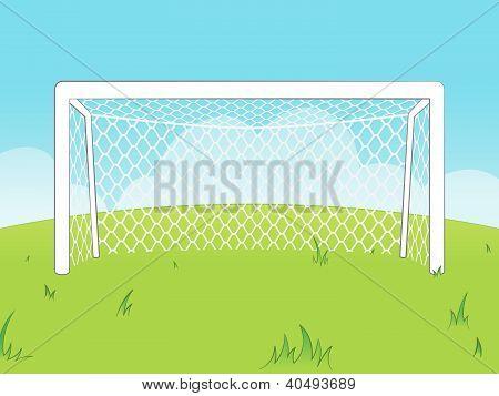 Cartoon goalposts with a net