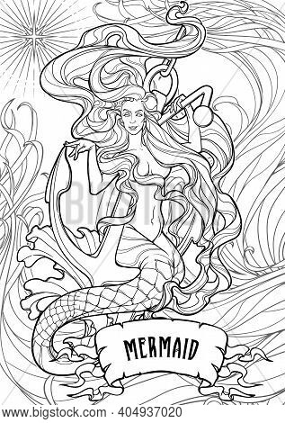 Beautiful Mermaid With Long Wavy Hair Sitting On Anchor. Intricate Black Line Drawing Isolated On Wh