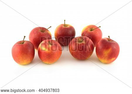 Seven Ripe Red Apples Studio Shot Isolated On White Background Front View Closeup