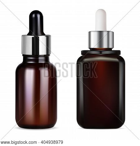 Brown Glass Dropper Bottle For Cosmetic Oil, Serum, Mockup Without Label. Medicime Bottles With Drop