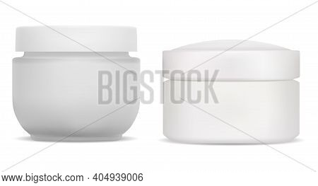 Cream Jar. Plastic Cosmetic Container, Face Beauty Bottle Blank. Skin Care Creme Product Round Glass