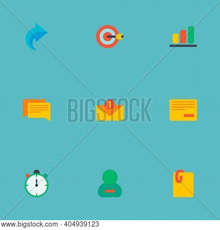 Set Of Management Icons Flat Style Symbols With Comments, Remove Task, Redo And Other Icons For Your