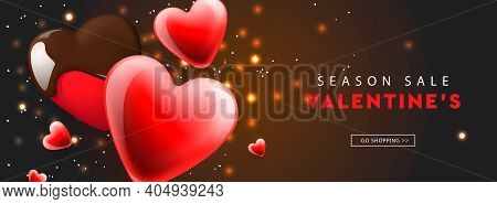 Valentines Day Sale. Web Banner Template With Red Hearts Background. Vector Illustration