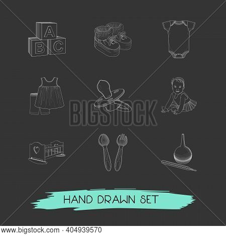 Set Of Infant Icons Line Style Symbols With Baby Clothing, Dummy Teat, Baby Girl And Other Icons For