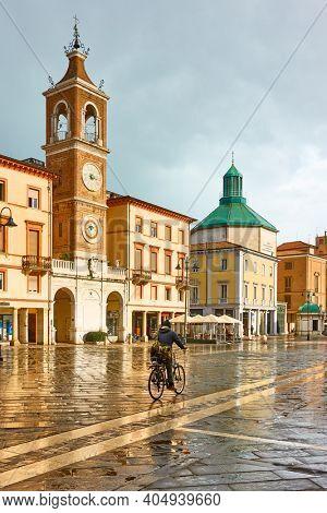 Rimini, Italy - February 26, 2020:  Square of the Three Martyrs (Piazza Tre Martiri) in Rimini