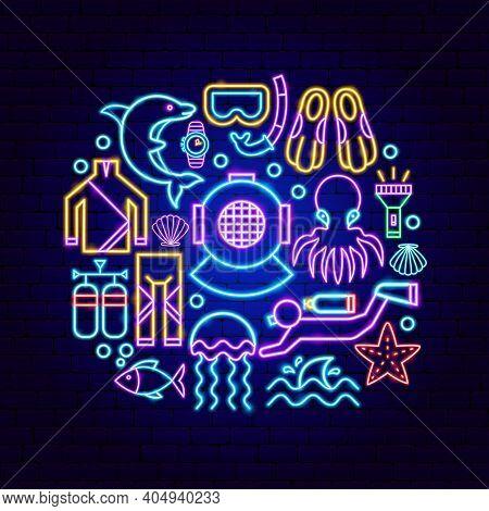 Scuba Diving Neon Concept. Vector Illustration Of Scuba Diver Promotion.