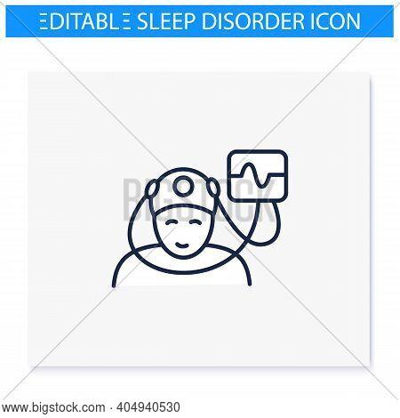 Electroencephalogram Line Icon. Sleep Study. Brain, Sleep Examination. Sleep Disorder. Healthy Sleep