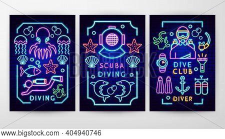 Diving Neon Flyer Concepts. Vector Illustration Of Scuba Dive Promotion.