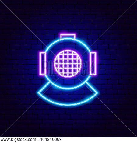 Diving Helmet Neon Sign. Vector Illustration Of Scuba Dive Promotion.