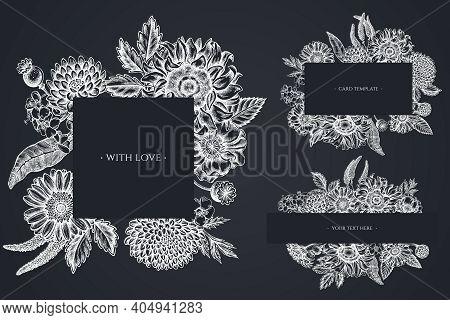 Floral Frames With Chalk Poppy Flower, Gerbera, Sunflower, Milkweed, Dahlia, Veronica Stock Illustra