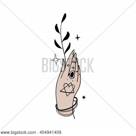 Witch Hand With Plant, Magical Tattoo In Boho Design, Witchcraft For Halloween. Magic Hand Drawing,
