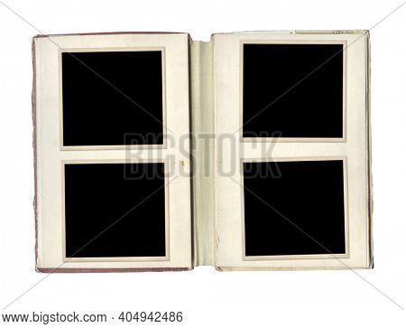 Retro blank photo frames in album. Vintage scrapbook elements. Isolated on white background. Mock up template