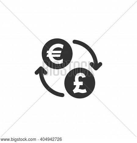 Euro And British Pound Exchange Vector Icon. Money Currency Coin With Arrows Or Loop Symbol.