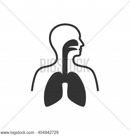 Respiratory System Symbol. Human Body With Lungs, Nose And Mouth Black Vector Icon.