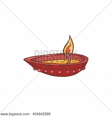 Indian Burning Oil Lamp, Clay Candle For Holiday Pongal, Dhanteras Deepawali.
