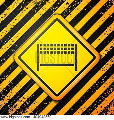 Black Ribbon In Finishing Line Icon Isolated On Yellow Background. Symbol Of Finish Line. Sport Symb