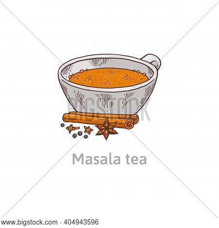 Cup With Indian National Traditional Beverage Tea Masala A Vector Illustration