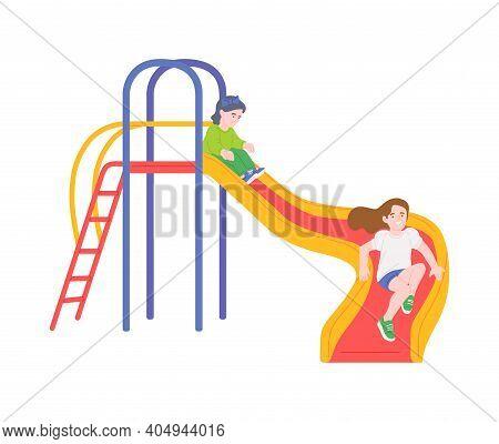 Kids Playing On A Slide - Cartoon Children Sliding Down Colorful Slide
