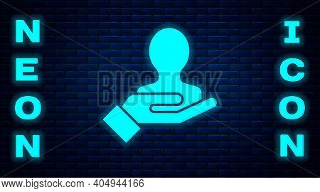 Glowing Neon Hand For Search A People Icon Isolated On Brick Wall Background. Recruitment Or Selecti