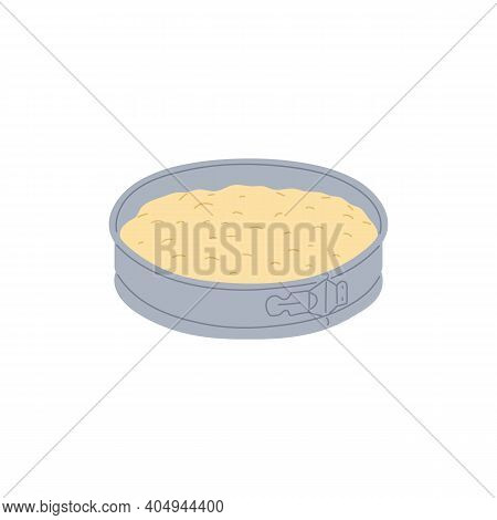 Cake Batter Mixture In Baking Pan - Cartoon Isolated Drawing