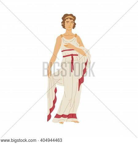 Roman Woman In White Toga - Female Cartoon Character From Ancient Rome