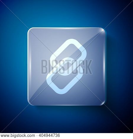 White Chain Link Icon Isolated On Blue Background. Link Single. Hyperlink Chain Symbol. Square Glass
