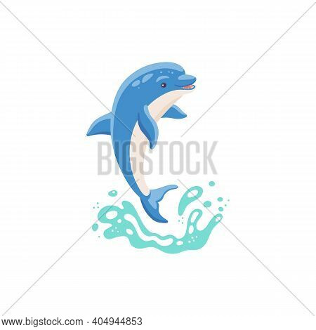 Cute Blue Cartoon Dolphin Jumps Out Of The Water A Vector Isolated Illustration.