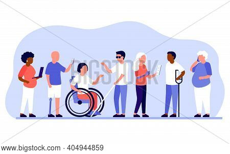 Group Diverse Of People With Disabilities Work Together In Office. Disabled Different People Stand I