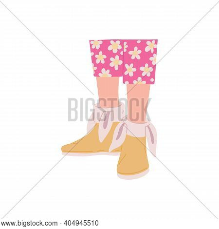 Female Foots With Cozy Comfortable Home Footwear With Ears A Vector Illustration