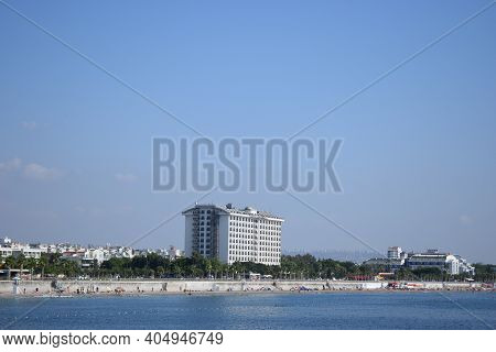 View Of The Antalya From The Mediterranean Sea - Antalya, Turkey. Aquamarine Sea Water In Popular To