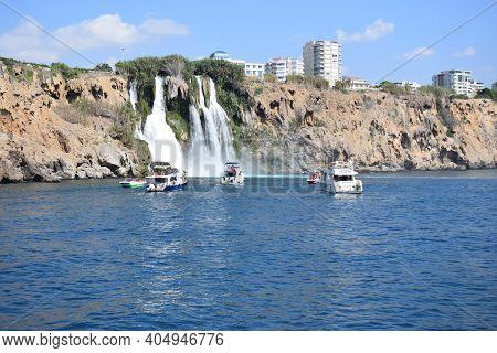 Waterfall Duden At Antalya Turkey - Nature Travel Background. Mediterranean Sea Coast. Popular Touri