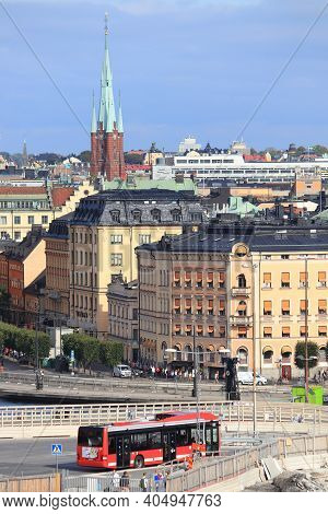 Stockholm, Sweden - August 23, 2018: City View In Stockholm, Sweden. Stockholm Is The Capital City A
