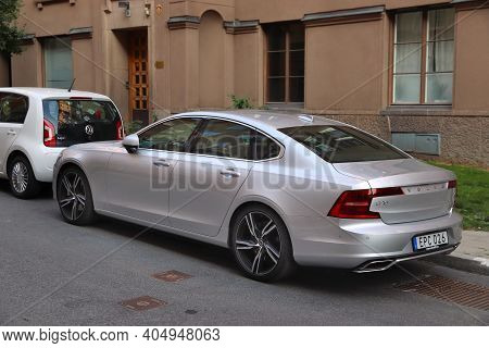 Stockholm, Sweden - August 23, 2018: Silver Executive Luxury Sedan Volvo S90 Parked In Stockholm, Sw