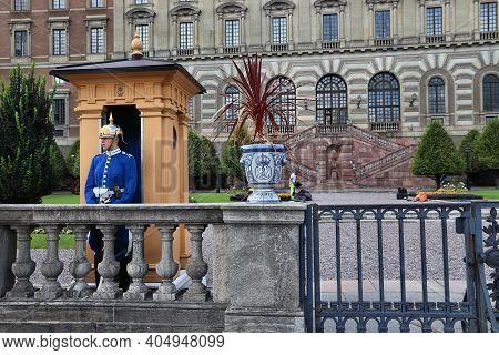 Stockholm, Sweden - August 23, 2018: Royal Guard In Stockholm, Sweden. Royal Guards Are Responsible