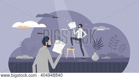 Acting Performance By Actor On Theater Stage As Character Tiny Person Concept