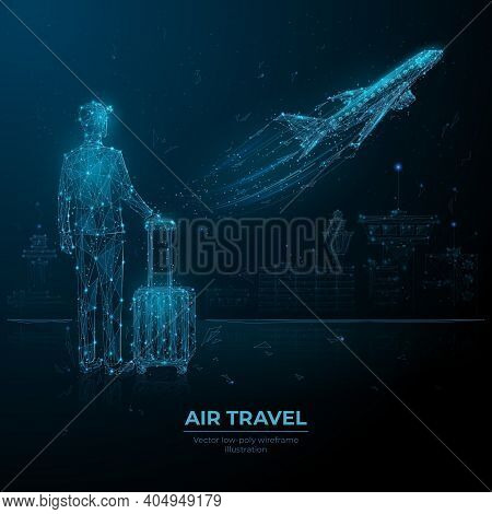 Abstract Low Poly 3d Man With Luggage Looking At Airplane Taking Off. Digital Vector Airport Departu