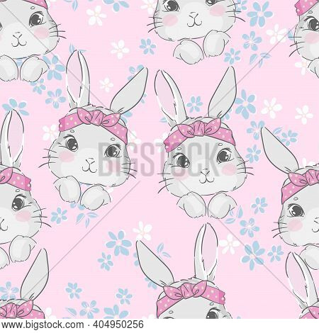 Seamless Pattern Cute Rabbit And Pink Bow. Hand Drawn Bunny, Print Design Rabbit Background. Vector