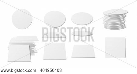 Set Of White Beer Cup Coasters A Vector 3d Realistic Illustrations.