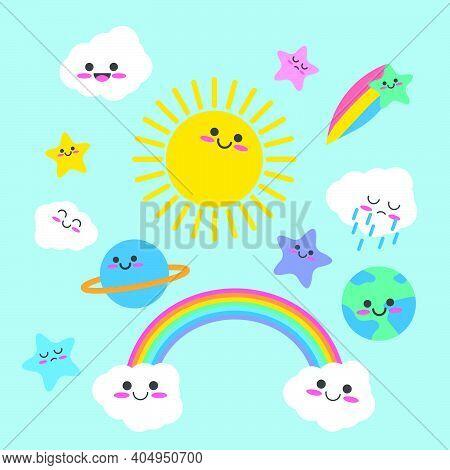 Hand Drawn Kawaii Sky Characters Collection - Start , Earth , Planet, Cloud, Rainbow. Cute Cartoon K