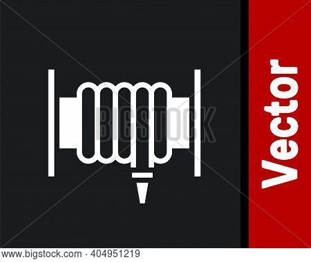 White Fire Hose Reel Icon Isolated On Black Background. Vector