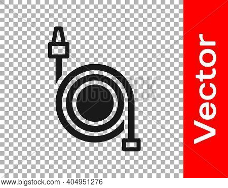 Black Fire Hose Reel Icon Isolated On Transparent Background. Vector
