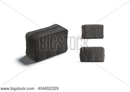 Blank Black Canvas Cosmetic Bag Mockup, Different Views, 3d Rendering. Empty Cloth Or Linen Containe