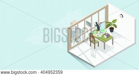 Work From Home Concept Is Presented In Isometric Style Of Home Office And Cat Plays With Reflection