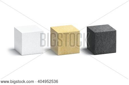 Blank Paper Black, White And Craft Cube Mockup Set, 3d Rendering. Empty Geometric Textured Model Moc