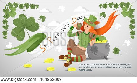 Flat Illustration Banner For Decoration Designs, On The Theme Of The Holiday Of St. Patricks Day, A
